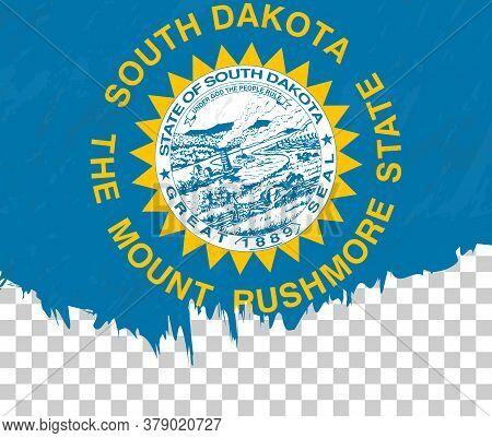 Grunge-style Flag Of South Dakota On A Transparent Background. Vector Textured Flag Of South Dakota