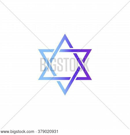 Star Of David Icon. Judaism. Blue Color Gradient. Vector On Isolated White Background. Eps 10