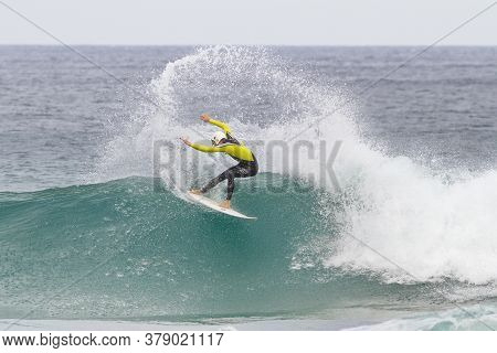 Ibarrangelua, Bizkaia/basque Country; Oct. 27, 2013. Surfer Sliding On A Wave From Laga Beach.