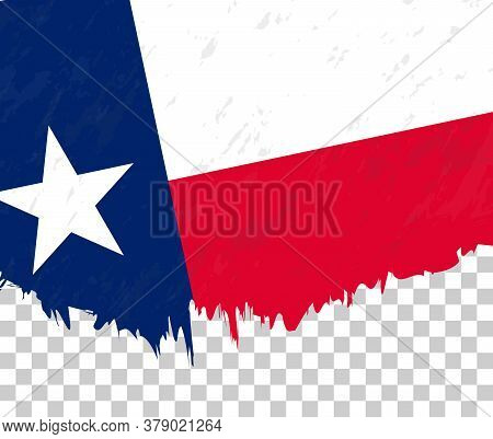 Grunge-style Flag Of Texas On A Transparent Background. Vector Textured Flag Of Texas For Vertical D