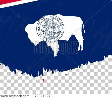 Grunge-style Flag Of Wyoming On A Transparent Background. Vector Textured Flag Of Wyoming For Vertic