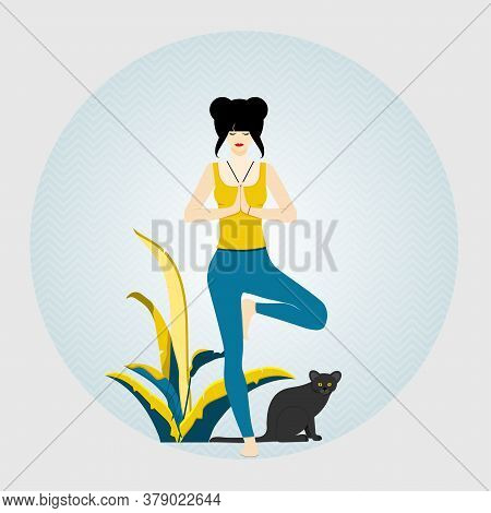 Yoga. Woman Standing In Tree Pose Yoga Position And Meditating. Next To Woman Sits Cat. Vector Illus