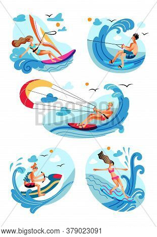 Water Sport. Active Extreme Recreation. Sailing, Parasailing, Scooting, Surfing, Skiing. Happy Sport