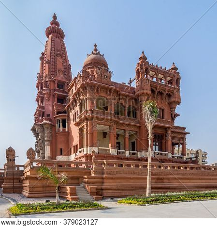 Cairo, Egypt- July 30 2020: Angle View Of Rear Facade Of Baron Empain Palace, A Historic Mansion Ins