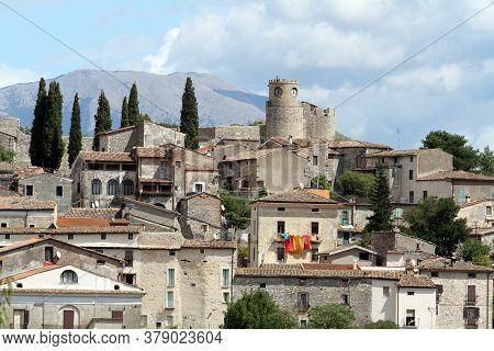 Pico, Italy, 3 September 2017: The Village Of Pico In Ciociaria In The Province Of Frosinone Where T