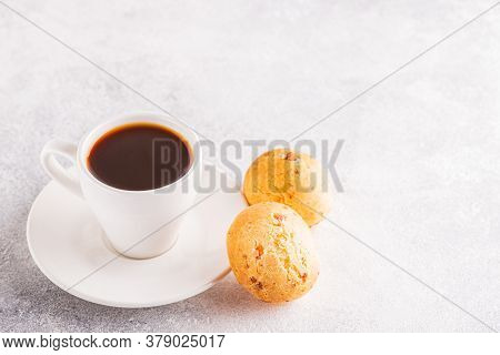 Traditional Brazilian Breakfast - Cheese Bread And Coffee, Selective Focus.