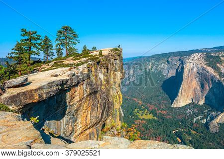 Panorama At Taft Point In Yosemite National Park, California, United States. View From Taft Point: Y