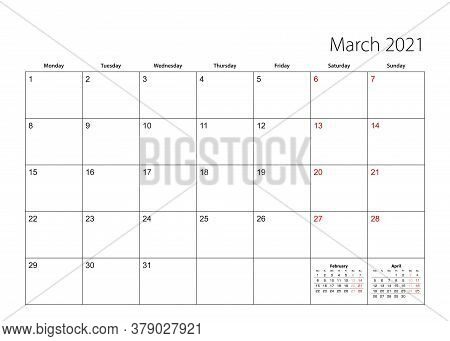 March 2021 Simple Calendar Planner, Week Starts From Monday. Vector Calendar Planner.