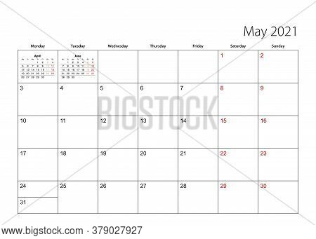 May 2021 Simple Calendar Planner, Week Starts From Monday. Vector Calendar Planner.