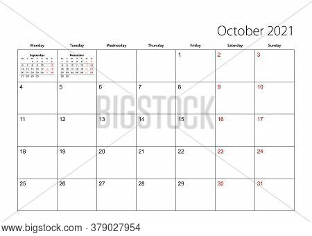 October 2021 Simple Calendar Planner, Week Starts From Monday. Vector Calendar Planner.