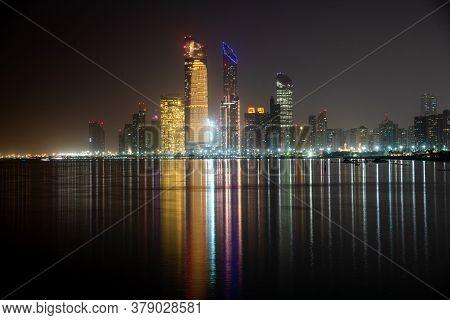The Night Panorama Of Abu Dhabi, Uae