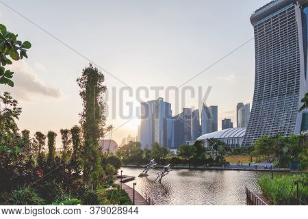 Singapore, Singapore - January 17, 2013. Sunset View Of View Marina Bay Sands Hotel And Other Skyscr