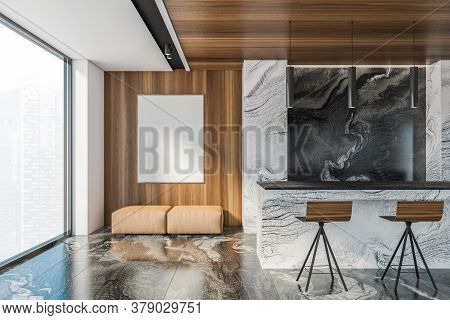 Interior Of Luxury Living Room With White Marble And Wooden Walls, Marble Floor, Sofa With Mock Up P