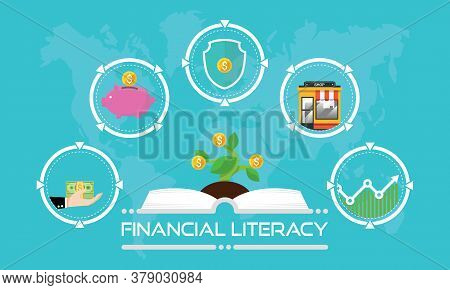 Financial Literacy Course Concept. Design By Opened Book For Wealth Growth By Knowledge Of Cash Rese