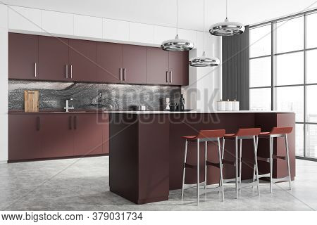 Corner Of Modern Kitchen With White And Marble Walls, Brown Cupboards And Countertops And Bar With S