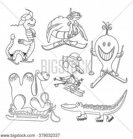 Set Of Drawing Vector Cartoon Leisure Animals. Worm, Birds, Whale, Crocodile, Camel On Skis, Skates