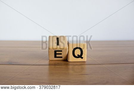 Wooden Cubes With The Expression 'iq' 'intelligence Quotient' To 'eq' 'emotional Intelligence Quotie