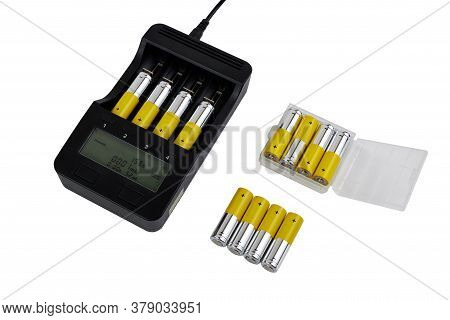 Battery Charger For Battery Aa / Aaa Isolated On White