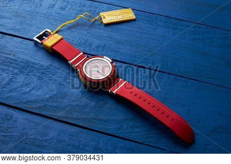 Saint-petersburg / Russia - May, 2020: Invicta Woman Quartz Watch With Red Strap. Red Wrist Watch On