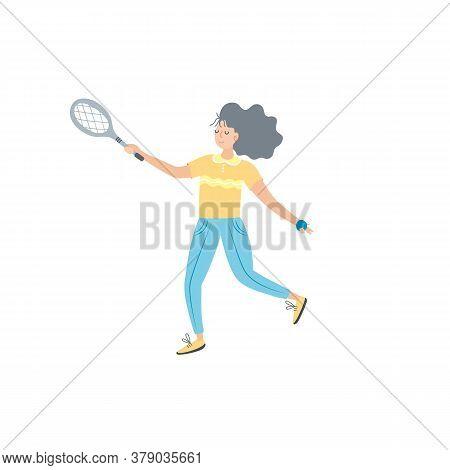 Woman Playing Tennis. Sportswoman Holding Rackets And Hitting Ball