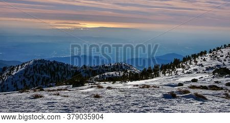 Sunset Views Of Angeles National Forest From Mount Baldy Summit. Officially Named Mt San Antonio, Th