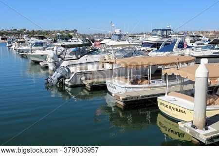 July 31, 2020 In Newport Beach, Ca:  Docked Boats And Yachts Taken At The Newport Harbor Where Peopl