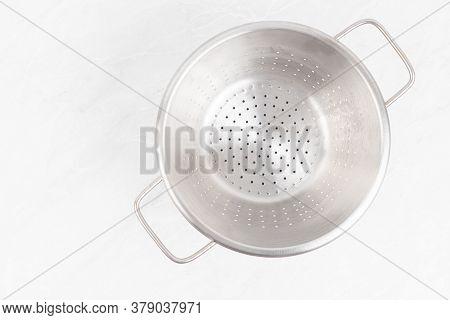 Metal Inox Strainer Bowl Above White Background