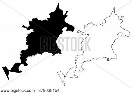 Nova Iguacu City (federative Republic Of Brazil, Rio De Janeiro State) Map Vector Illustration, Scri