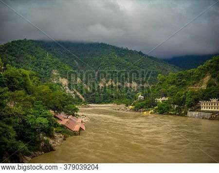 Ganga As Seen In Rishikesh, Uttarakhand. River Ganga Is Believed To Be The Holiest River For Hindus,