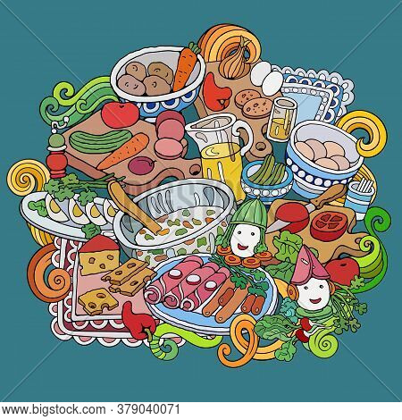 Food Hand Drawn Vector Doodles Illustration. Different Dishes Elements And Objects Cartoon Backgroun