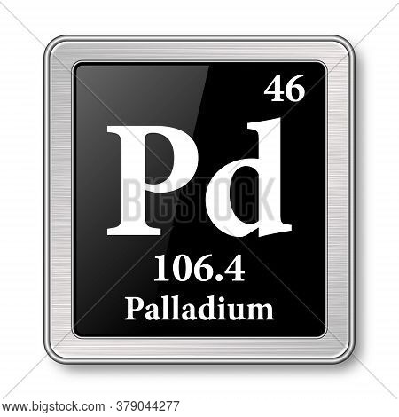 Palladium Symbol.chemical Element Of The Periodic Table On A Glossy Black Background In A Silver Fra