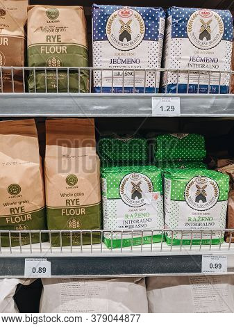 Budva, Montenegro - 01 August 2020: Packets Of Flour On The Shelves In A Supermarket In Montenegro.