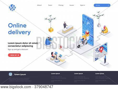 Online Delivery Isometric Landing Page. Express Delivery Service, Global Shipping, Online Order And