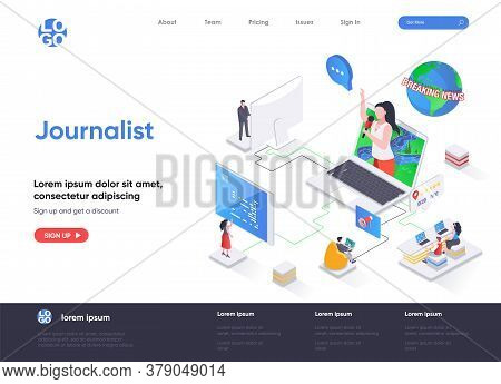 Journalist Isometric Landing Page. Breaking News Reportage, Online Interview, Tv Broadcasting, Live
