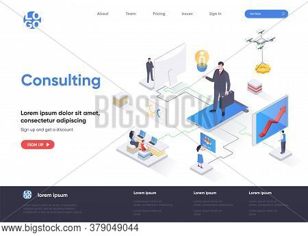 Consulting Isometric Landing Page. Competent Business Expertise And Law Assistance, Financial Audit