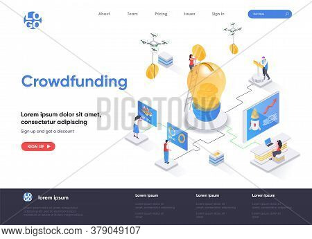 Crowdfunding Isometric Landing Page. Investment Into Idea Or Business Startup Isometry Web Page. Cro