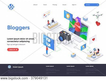 Bloggers Isometric Landing Page. Video Content Production For Social Media, Article Posting And Onli