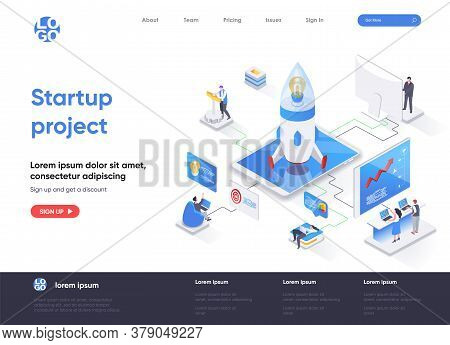 Startup Project Isometric Landing Page. Team Of Startup Founders Launching New Project Isometry Web