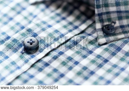 Close Up Of Men's Checkered Shirt.Copy Space.