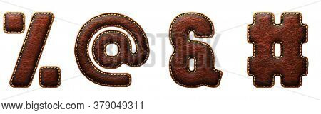 Set of symbols percent, at, ampersand, hash made of leather. 3D render font with skin texture isolated on white background. 3d rendering