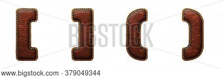 Set of symbols left, right bracket and perentheses made of leather. 3D render font with skin texture isolated on white background. 3d rendering