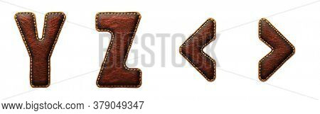 Set of leather letters Y, Z and symbol left, right angle bracket uppercase. 3D render font with skin texture isolated on white background. 3d rendering