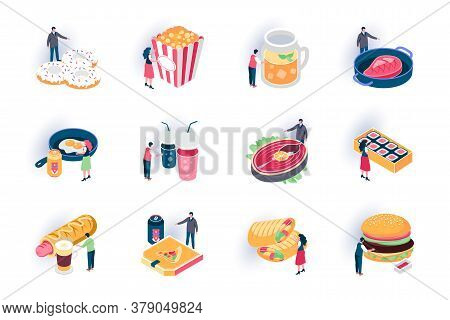 Foodstuffs Isometric Icons Set. Restaurant Fast Food Menu, Takeaway Delicious Meal Flat Vector Illus