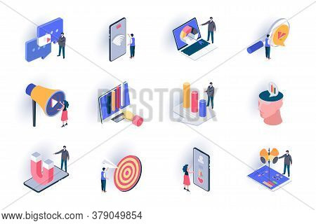 Smm Marketing Isometric Icons Set. Trend Watching, Analysis And Optimization, Targeting Advertising