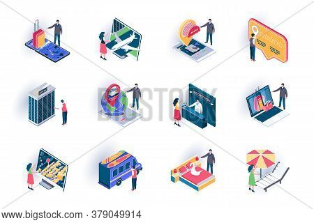Travel Vacation Isometric Icons Set. Online Ticket Booking, Hotel Reservation Service Flat Vector Il