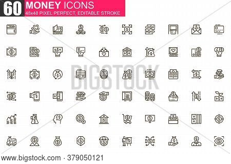 Money Thin Line Icon Set. Money Management And Saving Outline Pictograms For Website And Mobile App