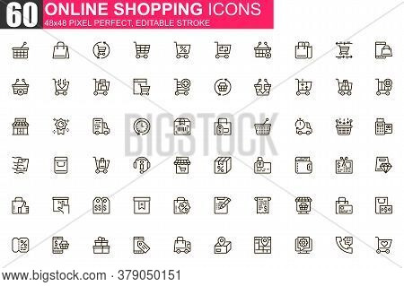 Online Shopping Thin Line Icon Set. Internet Marketplace Outline Pictograms For Website And Mobile A