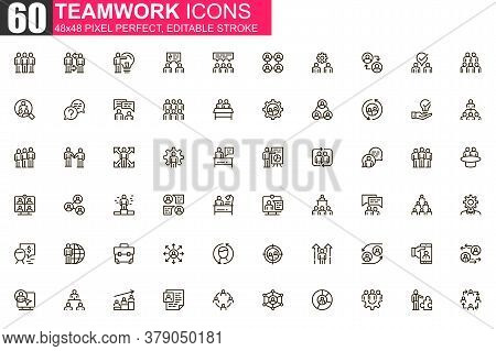 Teamwork Thin Line Icon Set. Business Team Collaboration Outline Pictograms For Website And Mobile A