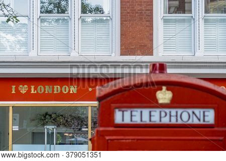 June 2020. London.red Telephone Boxes In Covent Garden , London, Uk Europe