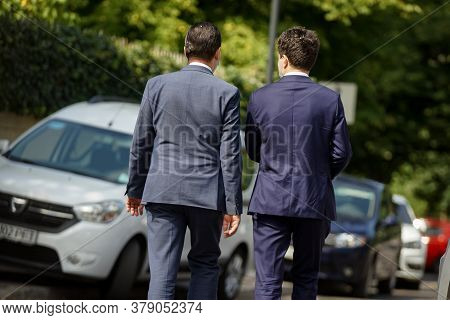 Bucharest, Romania - August 02, 2020: Ludovic Orban And Nicusor Dan, The Pnl Candidate For General M